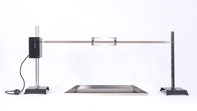 GIRARROSTO LOSA Elettrico Con Coppia Forchette Fermacarne, Spiedo e Leccarda in ACCIAIO INOX Perez Metal Designer