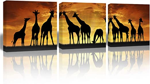 GIRAFFES CANVAS PICTURE PRINT WALL HANGING ART HOME DECOR FREE DELIVERY