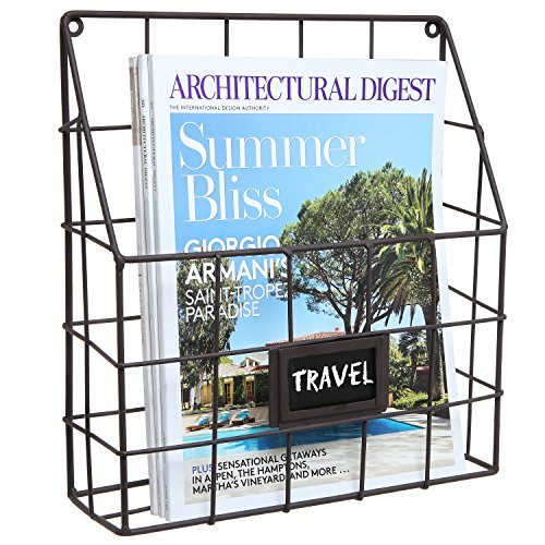 - Brown Metal Wire Wall Magazine Rack Bin/Newspaper Rack/Wall Mounted Mail Sorter with Chalkboard Label