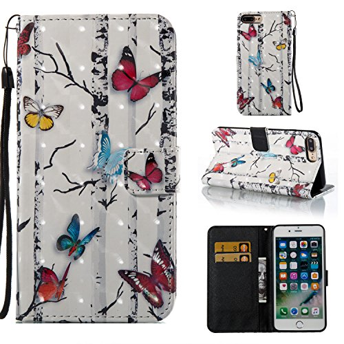 3D iPhone 7 Plus Case Cover, Cute iPhone 8 Plus Case, PU Leather Wallet Case with Credit Card Slots&Strap&Magnetic Closure&Kickstand and Flip Cover for iPhone 7 plus 2016/iPhone 8 plus 2017-Butterfly -