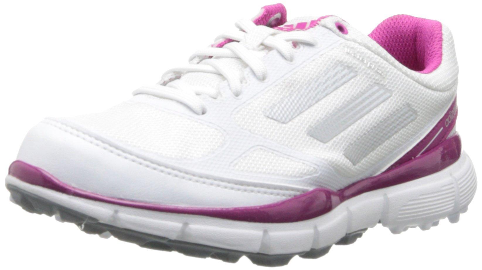 adidas Women's Adizero Sport II Golf Shoe,Running White/Metallic Silver/Bahia Magenta,9 M US