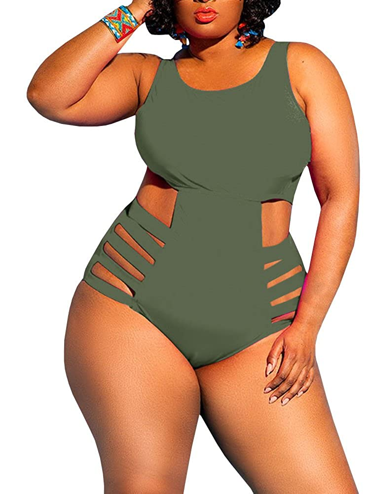 eaad97d8a28 YONYWA Womens One Piece High Waist Plus Size Swimsuits Sexy Tummy Control  Bandage Swimwear
