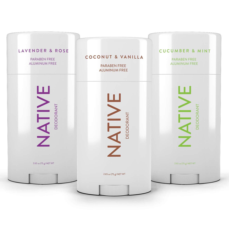 Native Deodorant - Natural Deodorant made without Aluminum & Parabens - 3 Pack - Cucumber & Mint, Coconut & Vanilla, Lavender & Rose