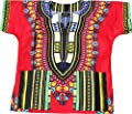RaanPahMuang Unisex Childrens African Dashiki Throw Over Bold Print Boubou Shirt