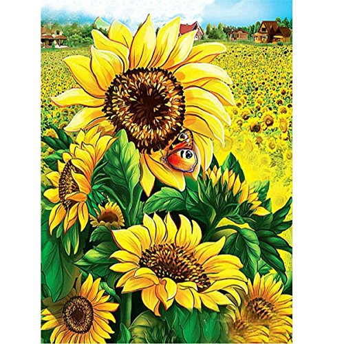 Sunflower Kit (DIY 5D Diamond Painting by Number Kits Sunflower Full Drill Rhinestone Embroidery Cross Stitch Pictures Arts Craft for Home Wall Decor 11.8 x 15.8 inch)