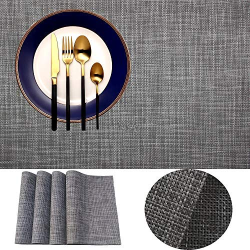 IMIYOKU Placemat, MiniBasketweave Woven Vinyl Non-Slip Insulation Placemat Washable Table Mats (8, Smoky Grey)