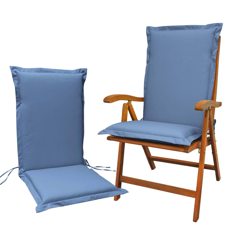 Indoba 2 x Sitzauflage Hochlehner Premium Polsterauflage Blau