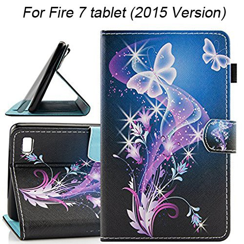 Fire 7 2015 Case, Dteck Slim Flip Folio Cute Cartoon Stand Case with [Card Slots] Pen Holder Protective Synthetic Leather Wallet Cover for Amazon Fire 7 (5th Generation 2015 Release)-Butterfly Flowers by Dteck