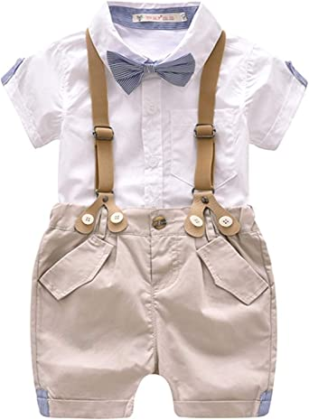 Toddler Boys Clothing Set Gentleman Outfit Bowtie Polo Shirt Bid Shorts Overalls