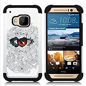 GIFT CHOICE / Defensor Cubierta de protección completa Flexible TPU Silicona + Duro PC Estuche protector Cáscara Funda Caso / Combo Case for HTC ONE M9 // The Floral Eye - White //