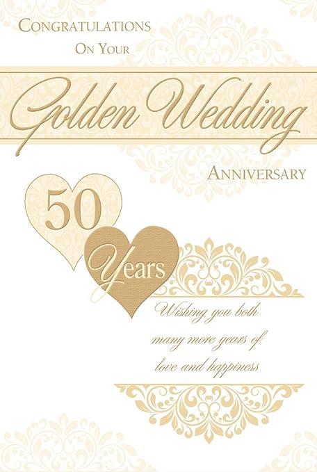 Tarjeta de aniversario de boda dorada 50 años aniversario: Amazon ...