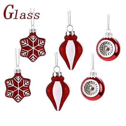 Valery Madelyn 6 Piezas 5 cm Bolas de Navidad,Tradicionales Rojos y Blancos Brillante Adornos Navideños, Vidrio Esmerilado Adornos de Navidad con ...