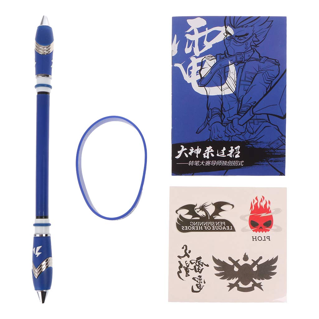 Spinning Pen Ballpoint Rolling Finger Rotating Playing Gaming Blue Ink Student