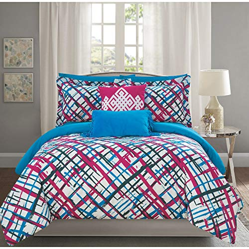 - 9 Piece Modern Abstract Pink Comforter Set, Perfect Children's Bedroom Colorful Full Bedding, Beautiful Painting Lovers Checkered Brush Strokes Design Soft Geometric Pattern Decorative Pillow included