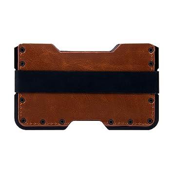 71b4ccf266e Tarjetero metalico con Bloqueo RFID para Hombre y Mujer. Cartera pequeña  Fina y Minimalista Slim de Aluminio y Piel. GOANSEE  Amazon.es  Equipaje