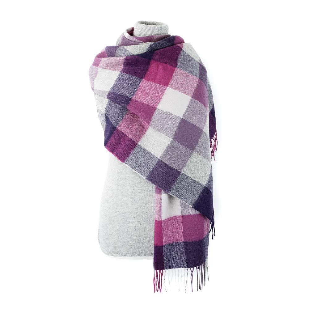 Kiltane of Scotland Stole Pure Cashmere Scottish Pashmina Scarf Shawl Tartan Wrap - Designed in Scotland (24395 Purple 5 Square Check)