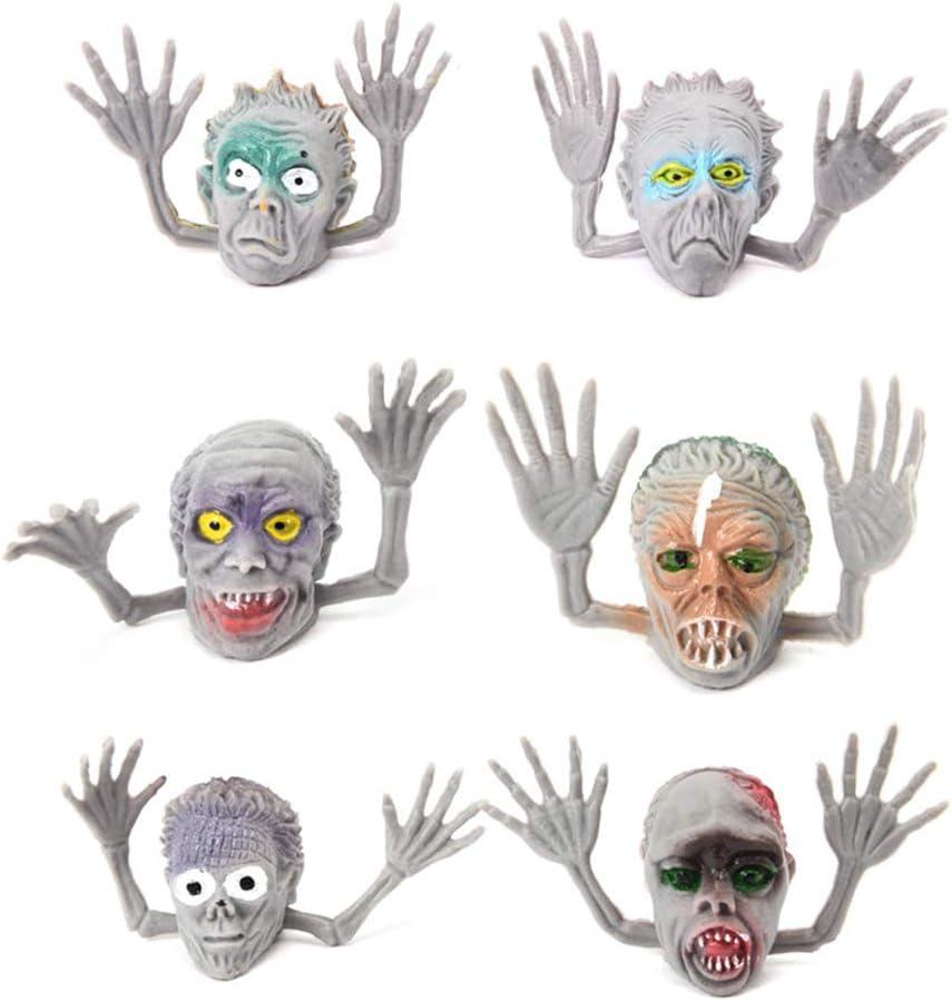 Toyvian Marionetas de Dedos de Halloween Simulación Divertida Zombie Accesorios de Brujas Broches de Juguetes interactivos de Brujas de Halloween 6 Piezas (Esqueletos Grises)