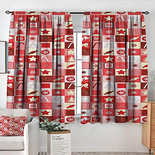(Theresa Dewey Decor Room Darkening Wide Curtains Christmas,Xmas Icons Candy Cones Stars Ribbons Hand Bells Pines Ornaments in Boxes, Ruby Red White,Insulating Room Darkening Blackout Drapes 42