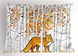 Ambesonne Hunting Decor Pillow Sham, Fox Hunting in Autumn Forest Birch Trees Rustic Wilderness Animal, Decorative Standard Queen Size Printed Pillowcase, 30 X 20 inches, Orange White Black