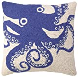 Peking Handicraft Hook Pillow, Blue Octopus, 18-by-18-Inch
