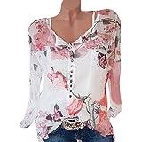 Quaan Frauen-beiläufiges mit Blumen bedrucktes Knopf-T-Shirt Chiffon- unregelmäßige Rand-Spitzen-Bluse Oberteile Sweatshirt warm halten Herbst leichte weiche gute Erfahrung Casual