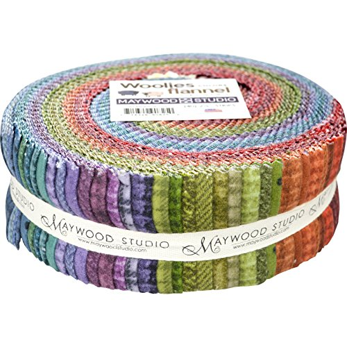 Bonnie Sullivan Woolies Flannel Colors Strips 40 2.5-inch Strips Jelly Roll Maywood Studio - Maywood Flannel Quilt Fabric
