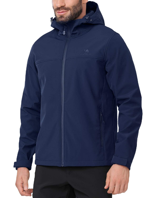 CAMEL CROWN Softshell Jacket Men Hooded Fleece Lined Outdoor Lightweight Windproof Hiking Jackets Waterproof Windbreaker Blue L by CAMEL CROWN