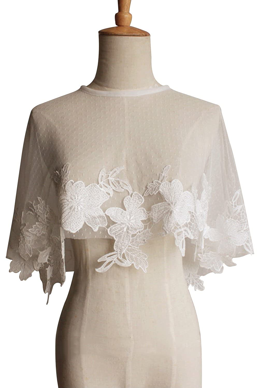 9d8ada8ad8 Top1: MisShow Bridal Appliques Lace Organza Bolero Shawls and Wraps for  Evening Dress
