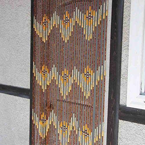 Natural Bamboo & Wood Beaded Curtain, W Pattern , 35.25