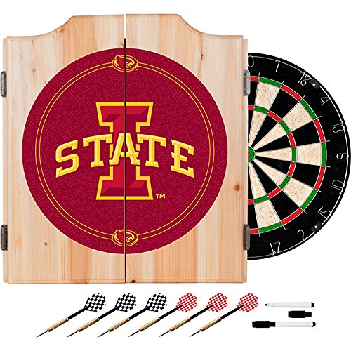 Iowa State University Deluxe Solid Wood Cabinet Complete Dart Set - Officially Licensed! by TMG