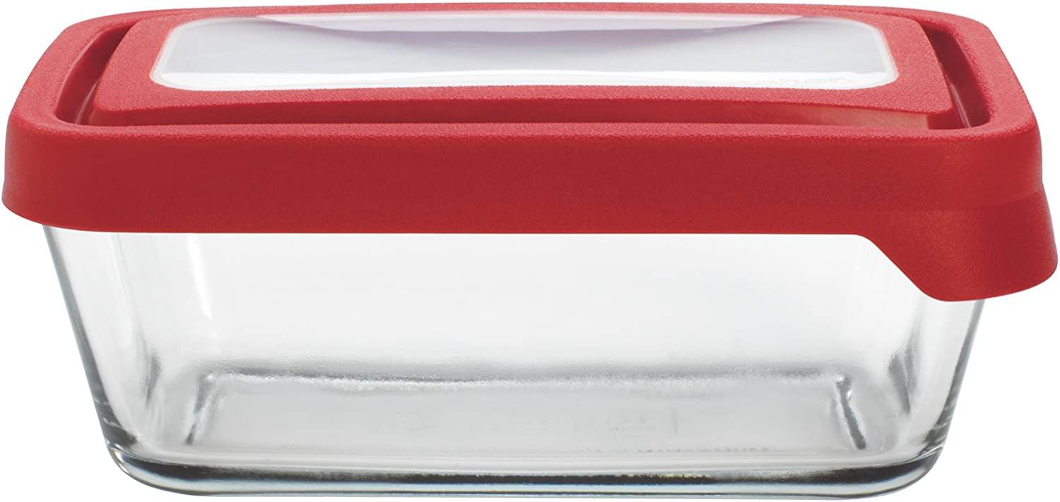 Anchor Hocking TrueSeal Glass Food Storage Container with Lid, Red, 4 3/4 Cup