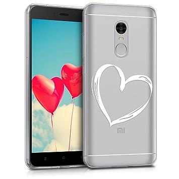 kwmobile Funda para Xiaomi Redmi Note 4 / Note 4X - Carcasa de [TPU] para móvil y diseño Dibujo de corazón en [Blanco/Transparente]