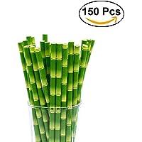 OUNONA 150pcs Pailles de Papier biodégradables Palmes de Bambou pour Boissons pour fête Décoration