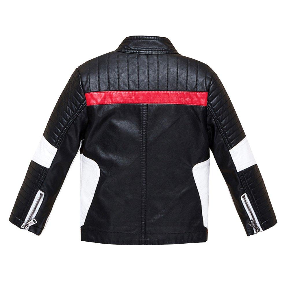 Budermmy Boys Leather Motorcycle Pilot Jackets Toddler Coats Black Size 11 by Budermmy (Image #3)