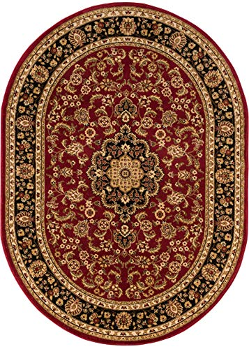Rugs Oval Small (Well Woven Noble Medallion Red Oriental 8x10 Oval (7'10'' x 9'10'' Oval) Area Rug Traditional Persian Floral Carpet)