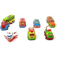 Akrobo Toy Set Mini Cars Vehicles Pull Back Push Friction Toys 7 Pcs for Boys Girls Kids Gift Toys Set