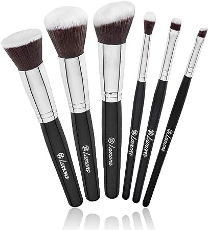 Brochas Base Polvos Ojos de Maquillaje Profesional Kabuki - Set Pinceles Maquillaje Sintético - Fibras Veganas de Larga Duración - Calidad Premium: Amazon.es: Belleza