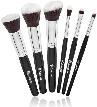16cc545a814c Travel Makeup Brush Set - Professional Kit with 6 Essential Face and Eye  Makeup Brushes - Kabuki...