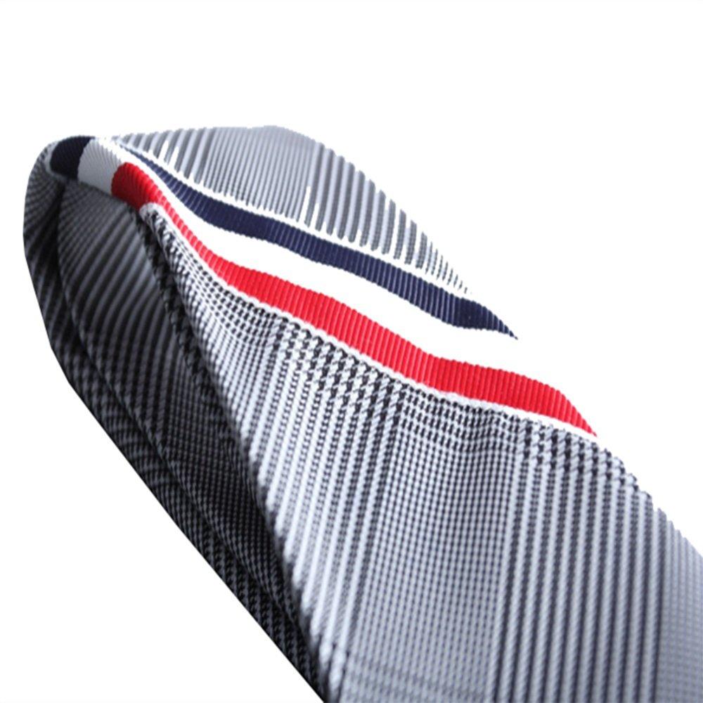 Y-WEIFENG Corbata de Seda roja y Blanca con Rayas Azules Caja de ...
