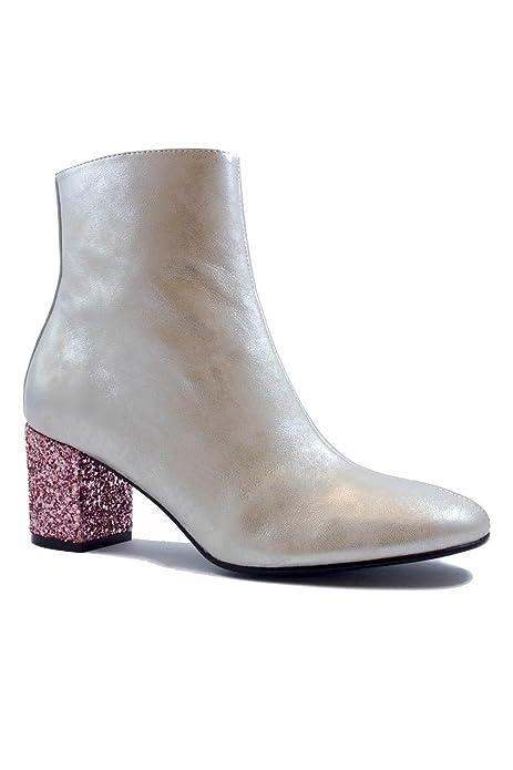 Botines de Mujer Dama Cuero Plata c/Tacon Rosa Brillante Modernos Chic - DCE Moda