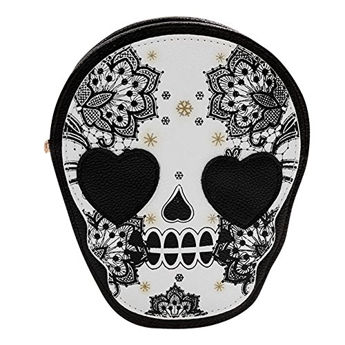 Tracolla Retro Spalla Shoulder A Pu Stampa Skull Halloween Bags Donne fvzxH