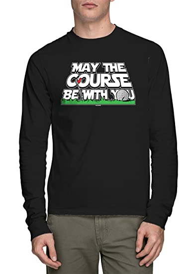 79868c89 HAASE UNLIMITED Long Sleeve Men's May The Course Be with You Shirt (Black,  Small
