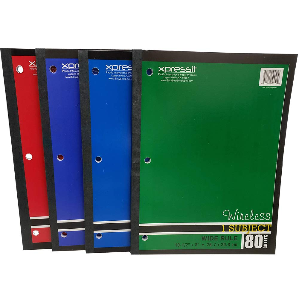 (Pack of 24,1920 Ct) Xpressit Notebook Wireless, Wide Ruled, 80 Sheets