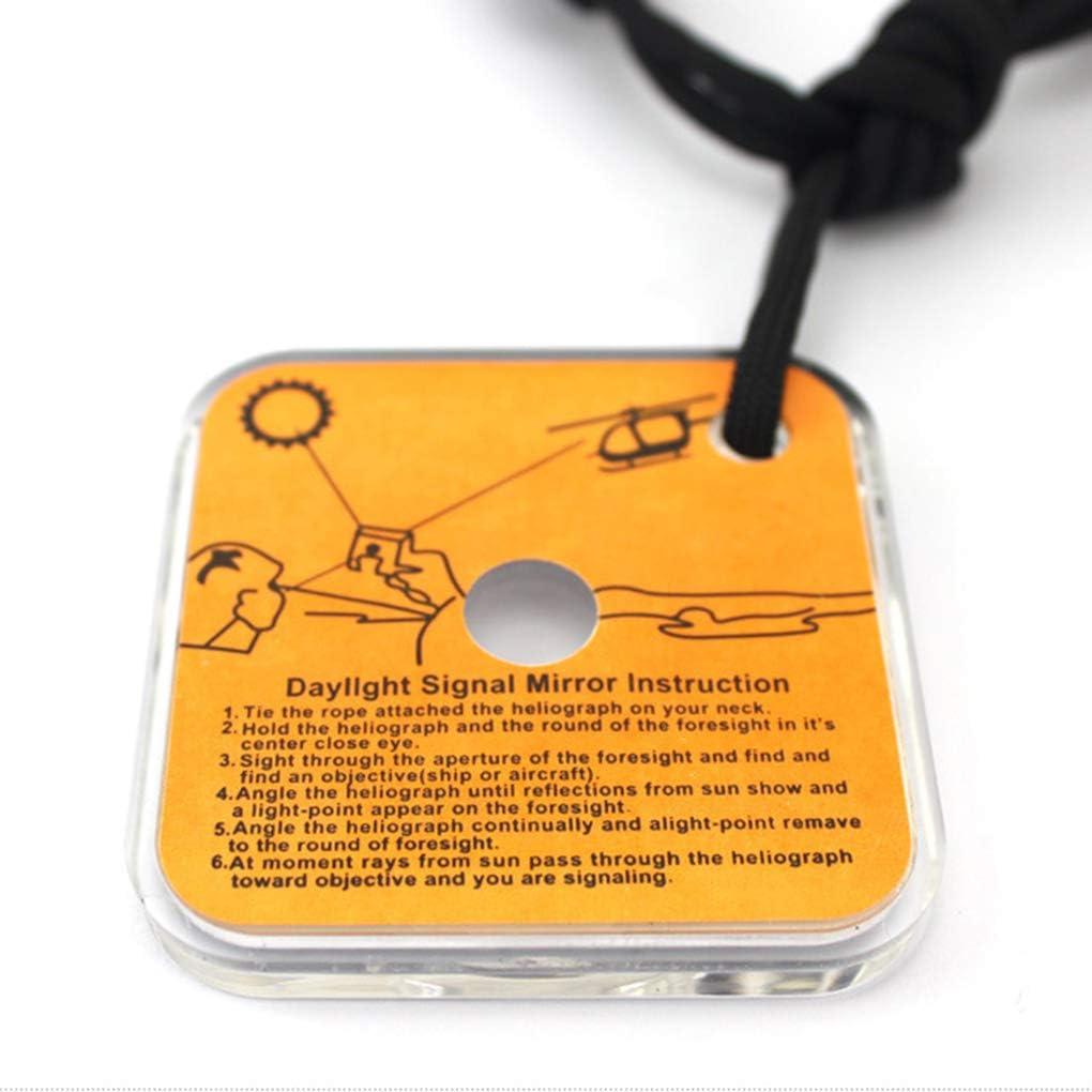 mingtongli Ext/érieur r/éfl/échissant Miroir de Survie Signal avec sifflet interurbaine Demander Une Aide SOS Pratique Outil durgence