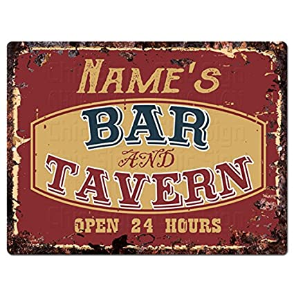 ANY NAME'S BAR and TAVERN Custom Personalized Tin Chic Sign Rustic Vintage  style Retro Kitchen Bar Pub Coffee Shop Decor 9