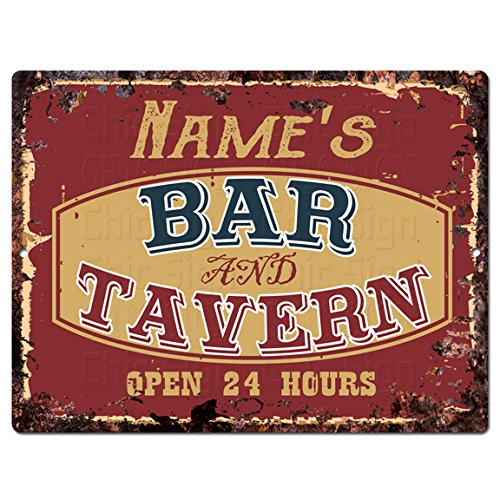 Personalized Tin Signs - ANY NAME'S BAR and TAVERN Custom Personalized Tin Chic Sign Rustic Vintage style Retro Kitchen Bar Pub Coffee Shop Decor 9