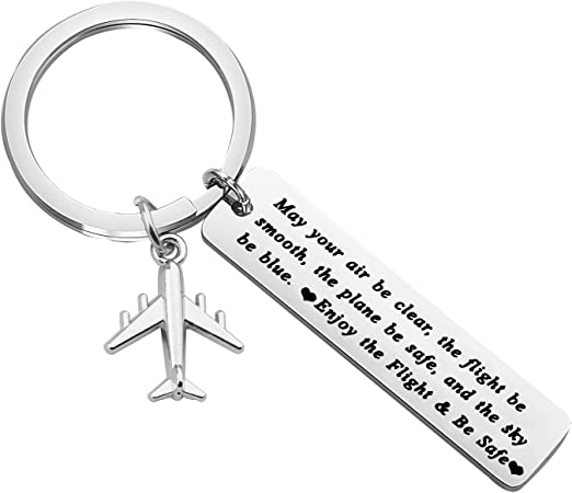Jewelry Engrave Fly Safe Airplane Pendant Traveling Keychain Women Men