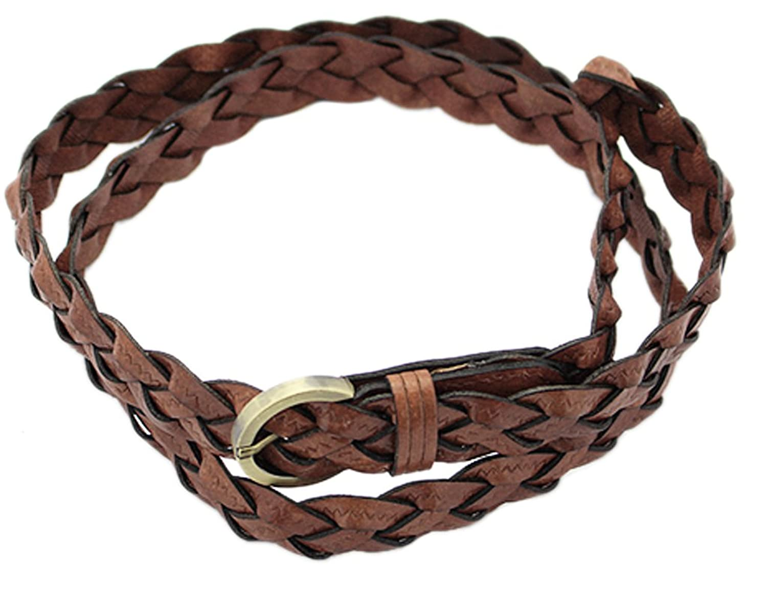 BONAMART @Women Braided Genuine Leather Skinny Belt with Buckle 110cm Ajustable Candy Color