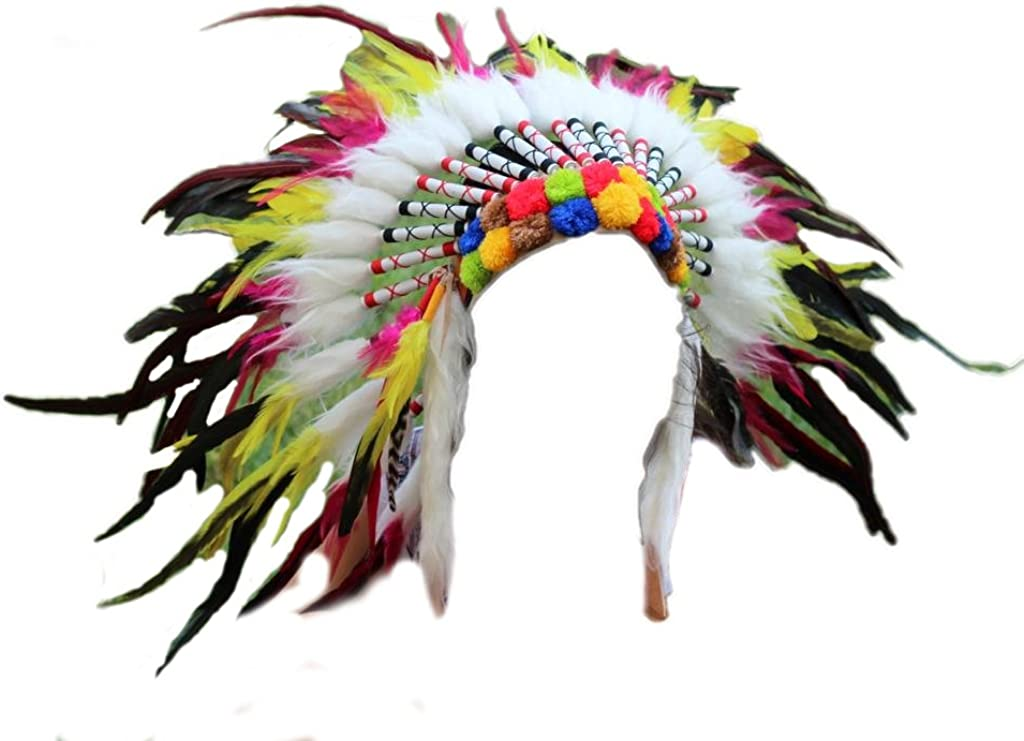 ADJUSTABLE Native American Indian Style Pink Rooster Long Feather Headdress
