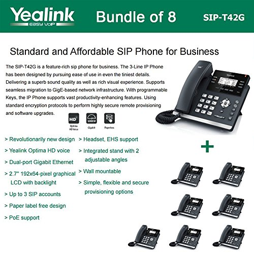 Yealink SIP-T42G - Bundle of 8 Gigabit IP Phone 6 Line Keys with Dual-color (red or green)LED  Wall Mountable